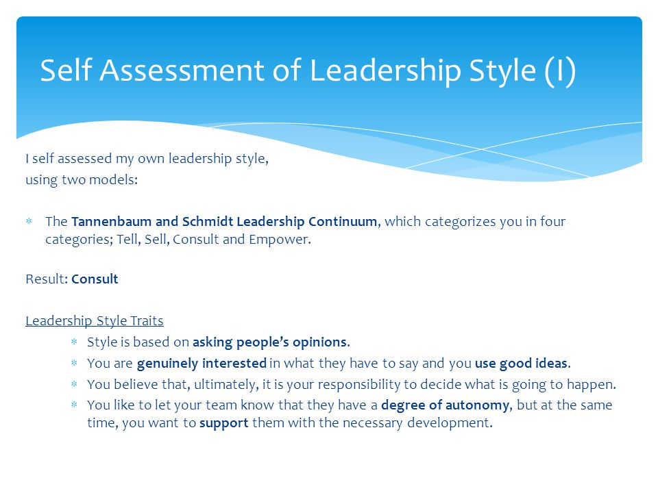 Self Assessment of Leadership Style (I)