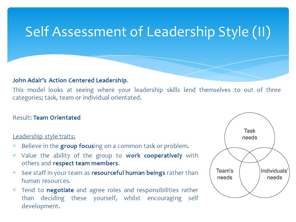 Self Assessment of Leadership Style (II)