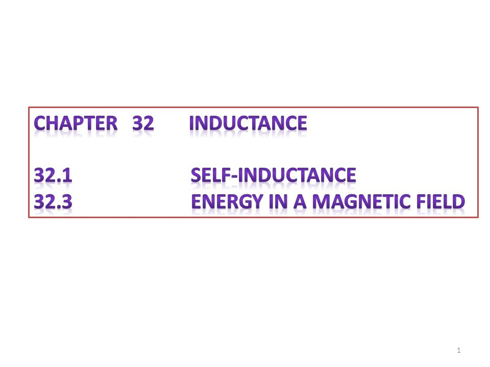CHAPTER 32 inductance 32.1 Self-Inductance.
