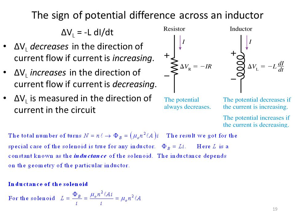 The sign of potential difference across an inductor