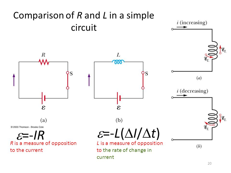 Comparison of R and L in a simple circuit