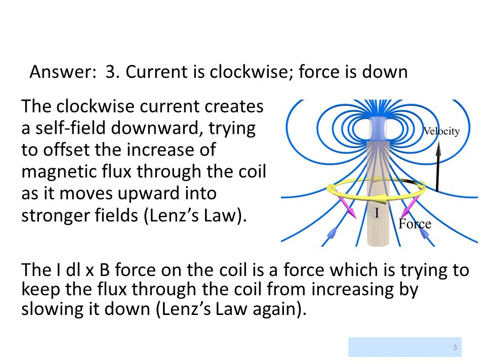 Answer: 3. Current is clockwise; force is down