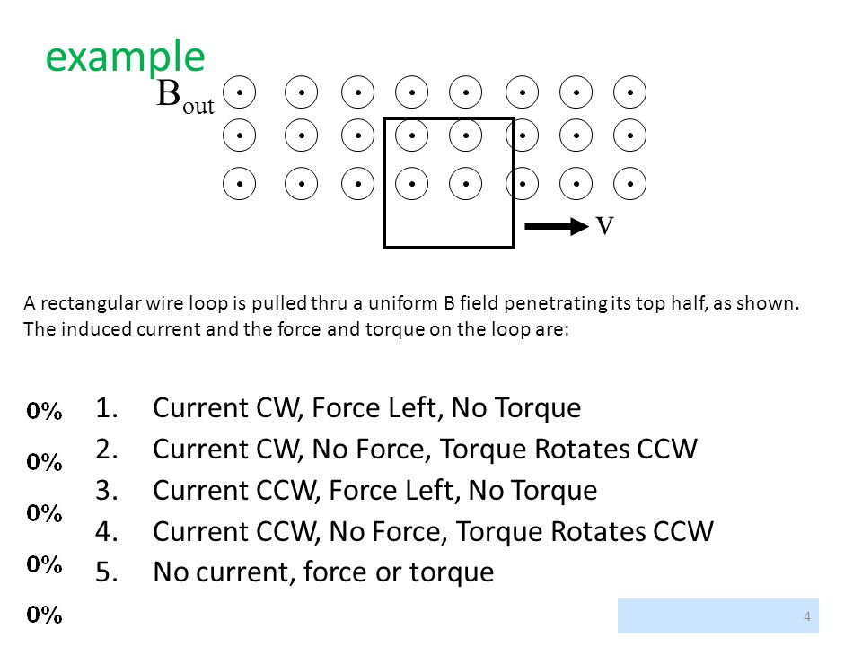 example Bout v Current CW, Force Left, No Torque