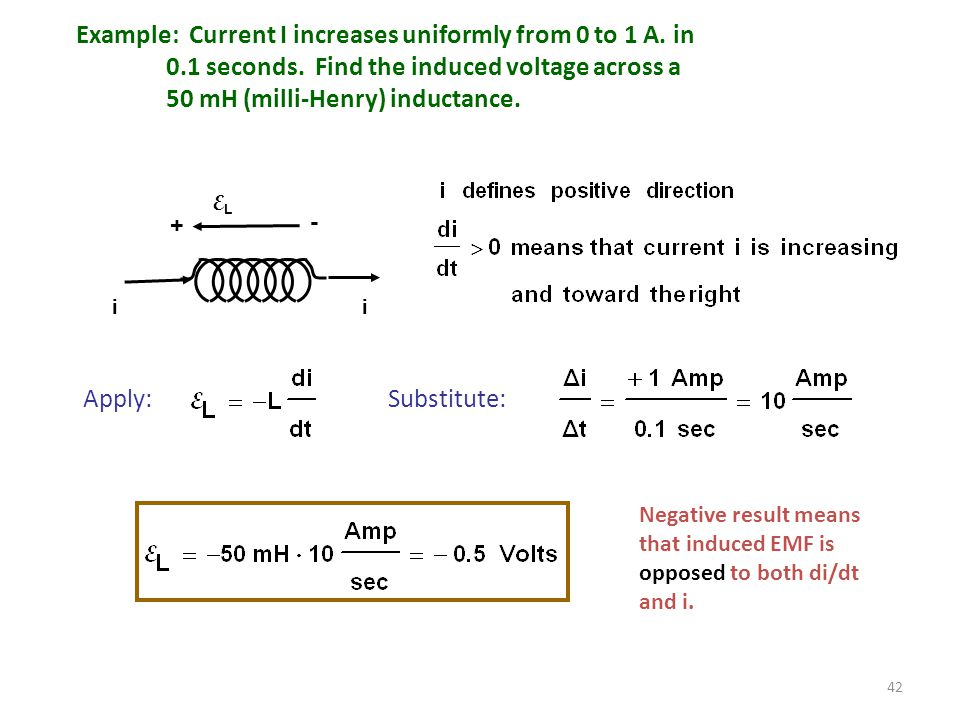 Example: Current I increases uniformly from 0 to 1 A. in
