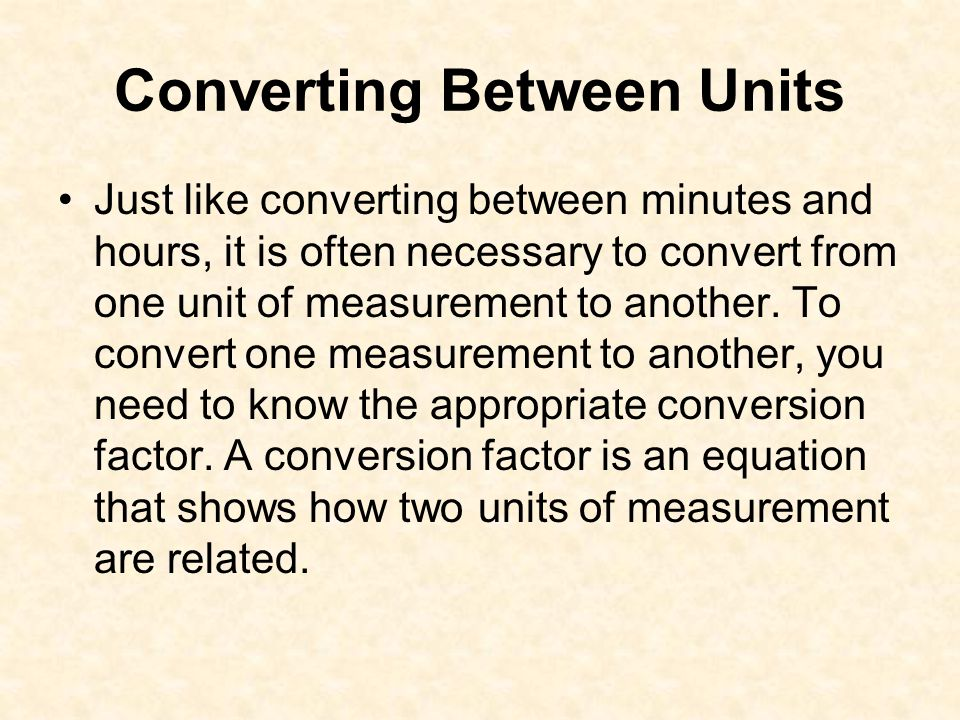 Converting Between Units