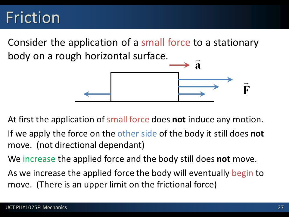 Friction Consider the application of a small force to a stationary body on a rough horizontal surface.