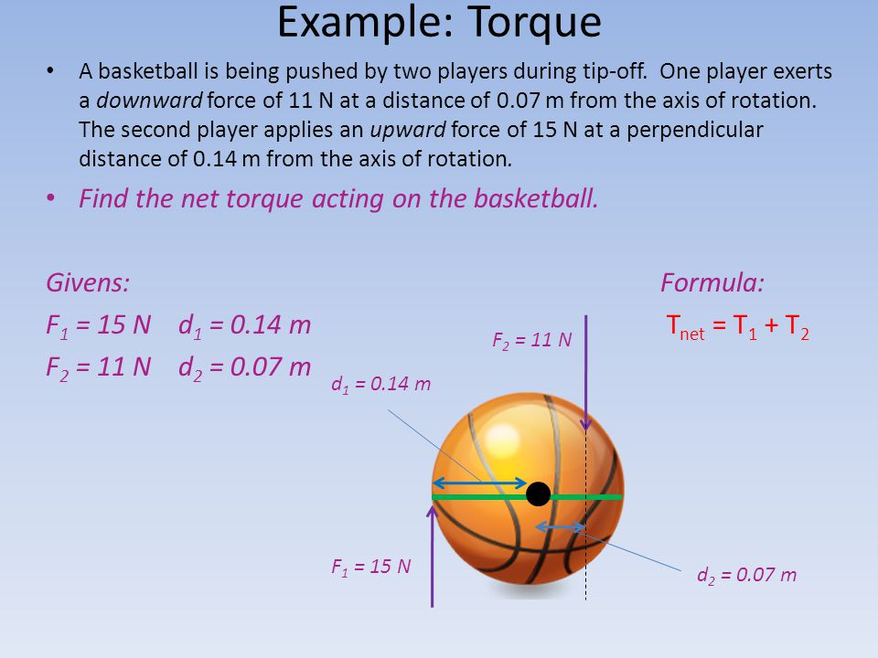 Example: Torque Find the net torque acting on the basketball.