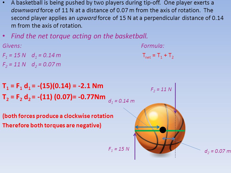 Find the net torque acting on the basketball.