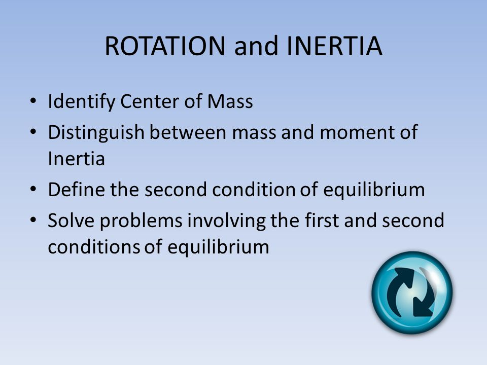 ROTATION and INERTIA Identify Center of Mass
