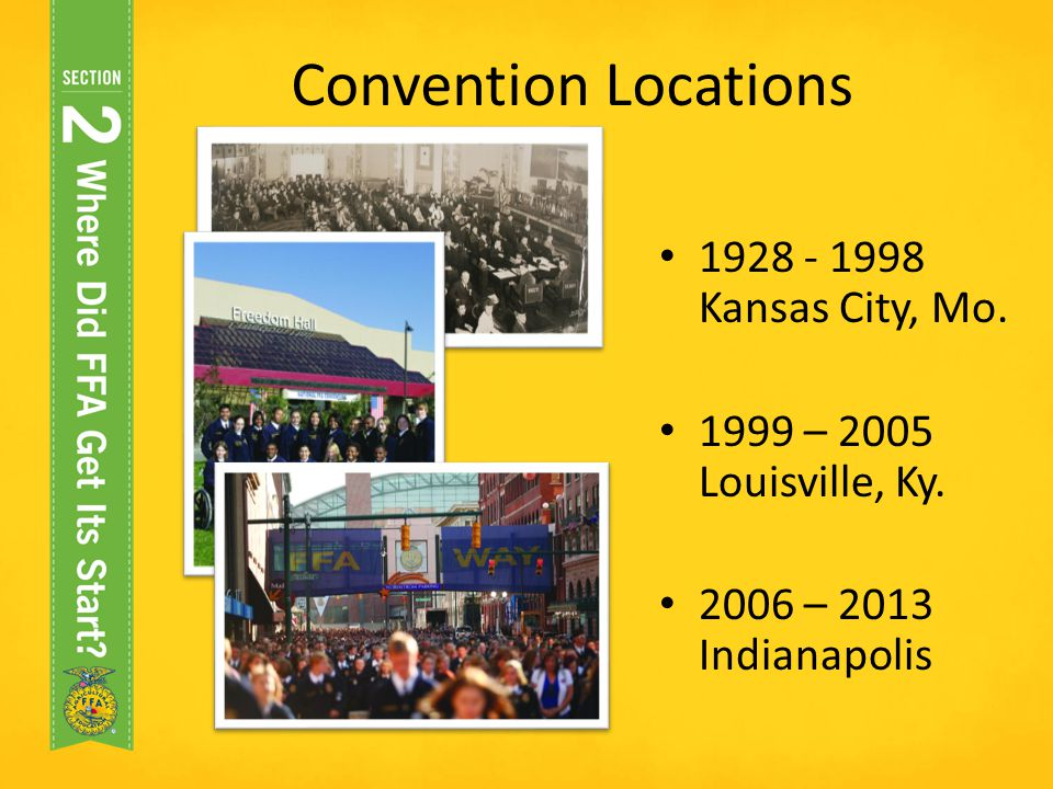 Convention Locations 1928 - 1998 Kansas City, Mo.