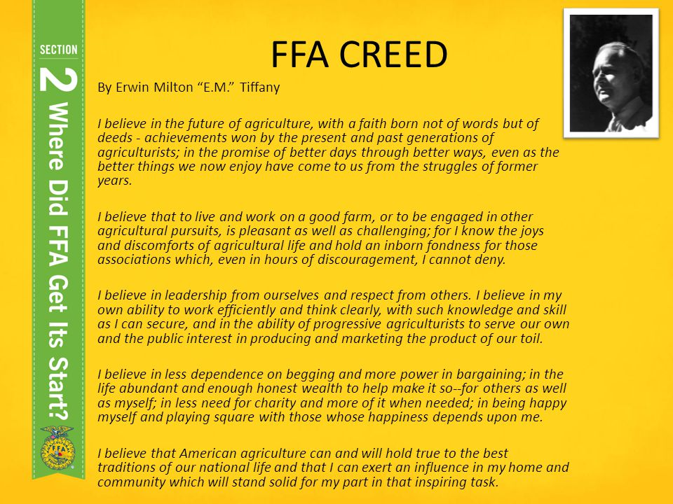 FFA CREED By Erwin Milton E.M. Tiffany
