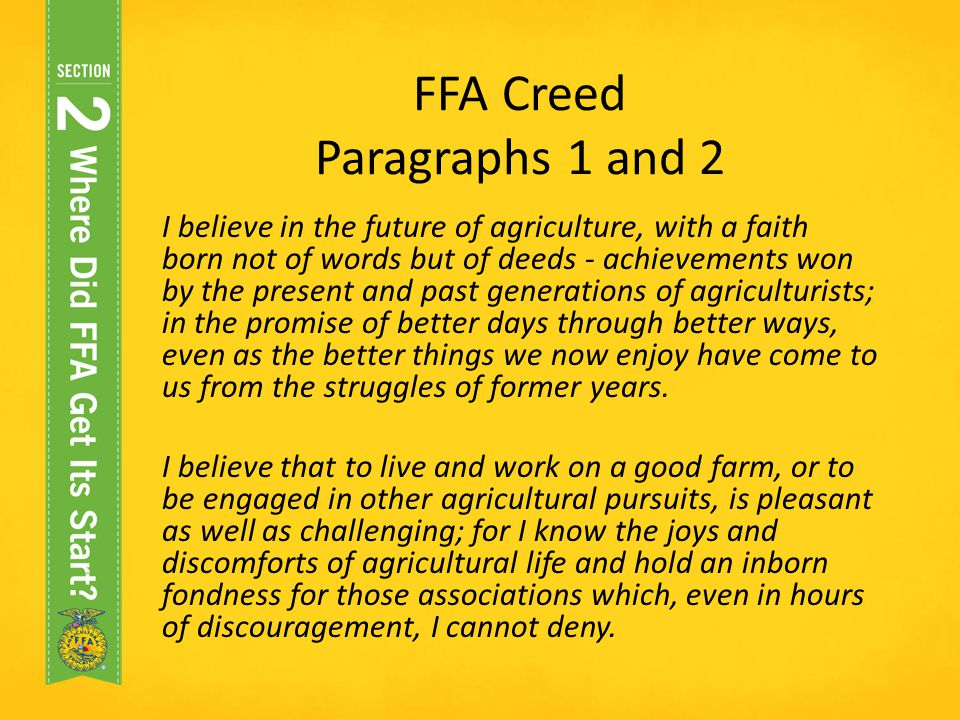 FFA Creed Paragraphs 1 and 2