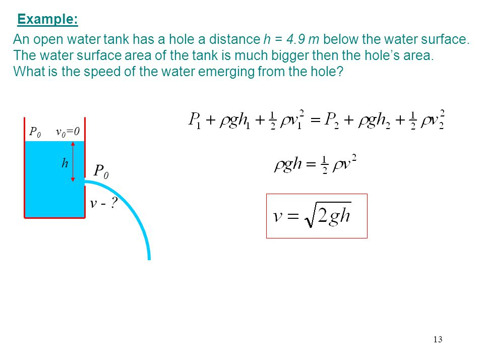 Example: An open water tank has a hole a distance h = 4.9 m below the water surface.