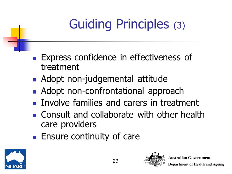 Guiding Principles (3) Express confidence in effectiveness of treatment. Adopt non-judgemental attitude.