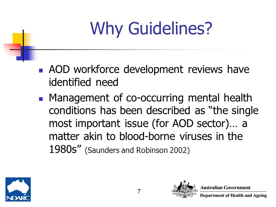 Why Guidelines AOD workforce development reviews have identified need