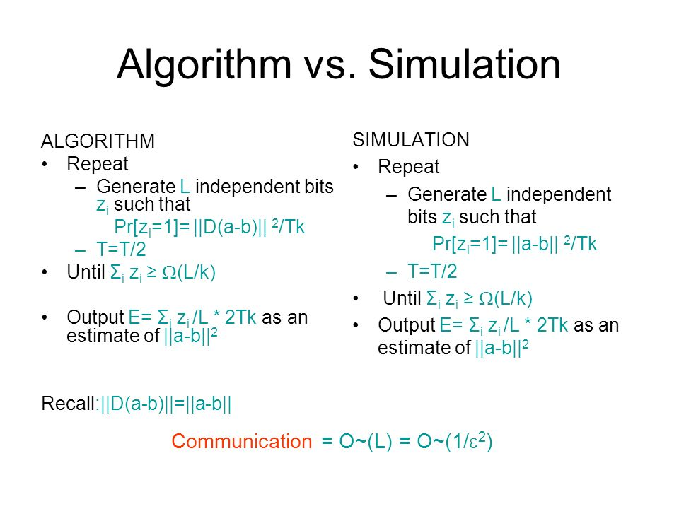 Algorithm vs. Simulation