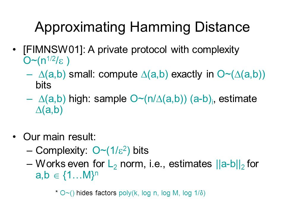 Approximating Hamming Distance