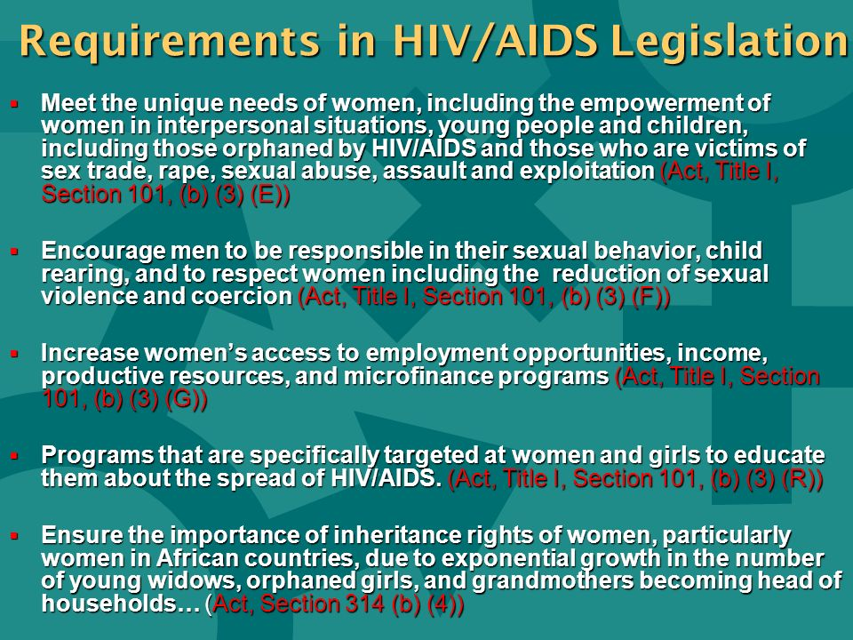 Requirements in HIV/AIDS Legislation