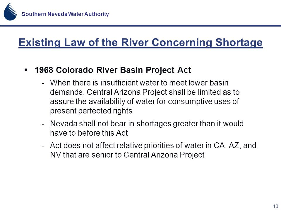 Existing Law of the River Concerning Shortage