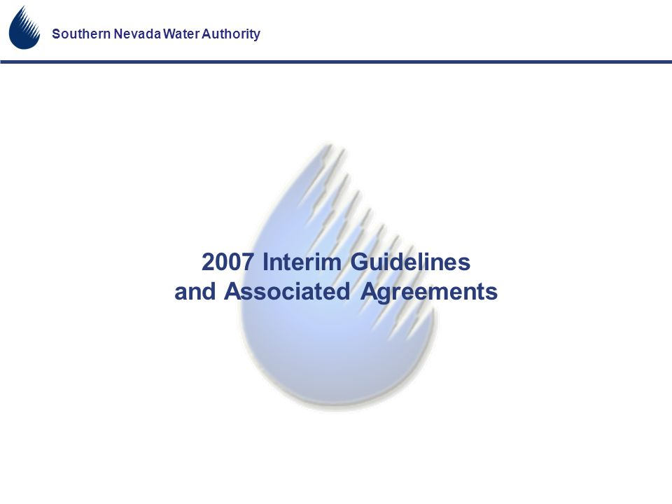 2007 Interim Guidelines and Associated Agreements