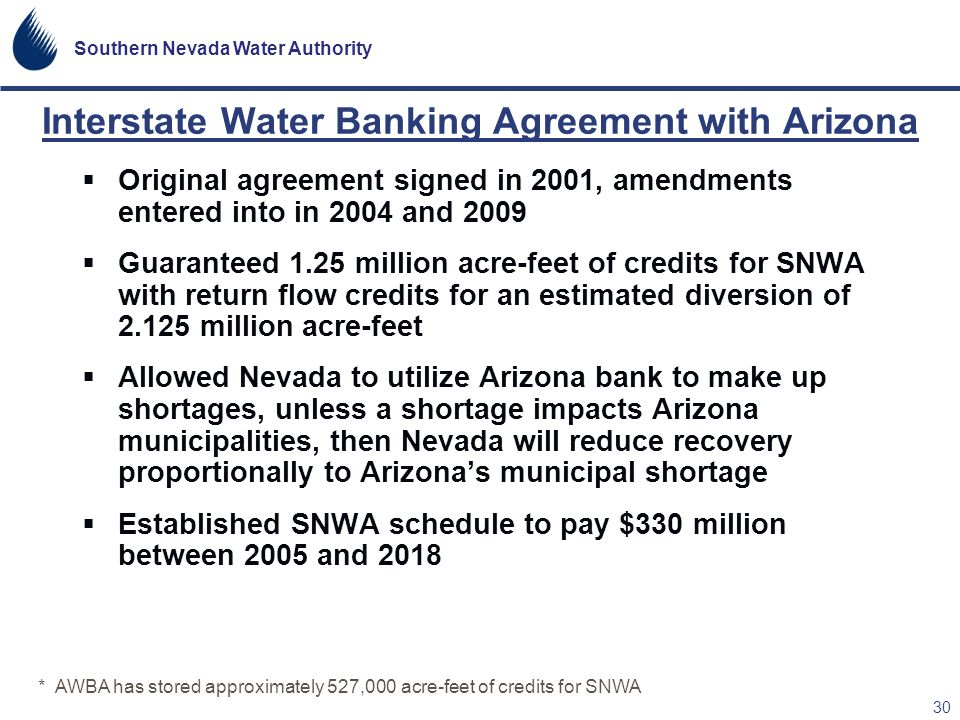 Interstate Water Banking Agreement with Arizona