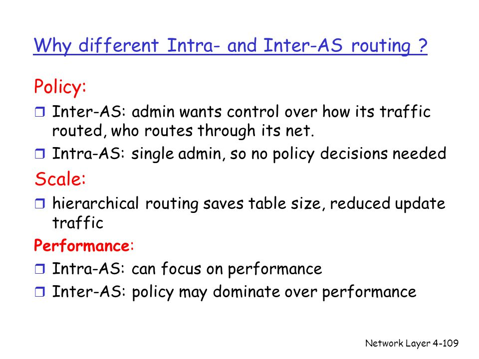Why different Intra- and Inter-AS routing