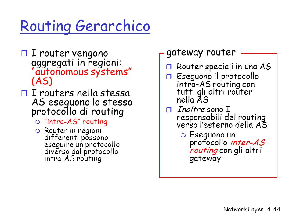 Routing Gerarchico gateway router