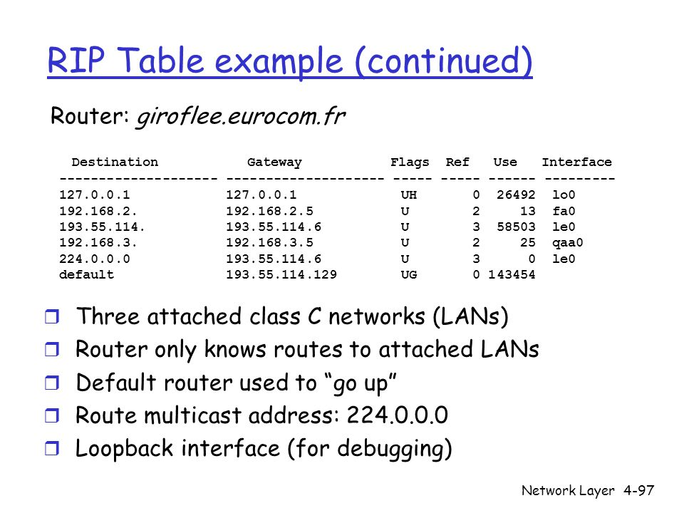 RIP Table example (continued)