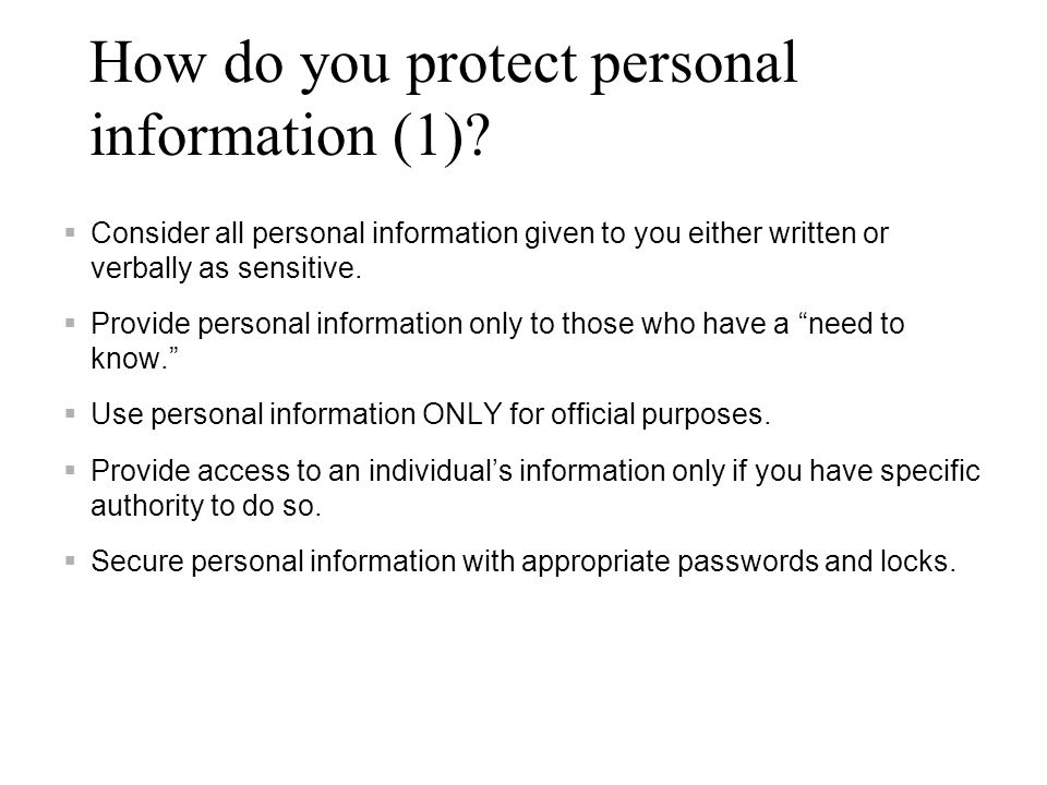 How do you protect personal information (1)