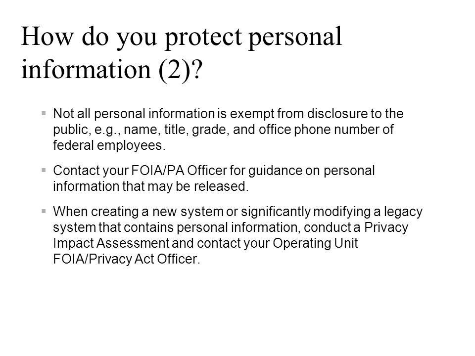 How do you protect personal information (2)