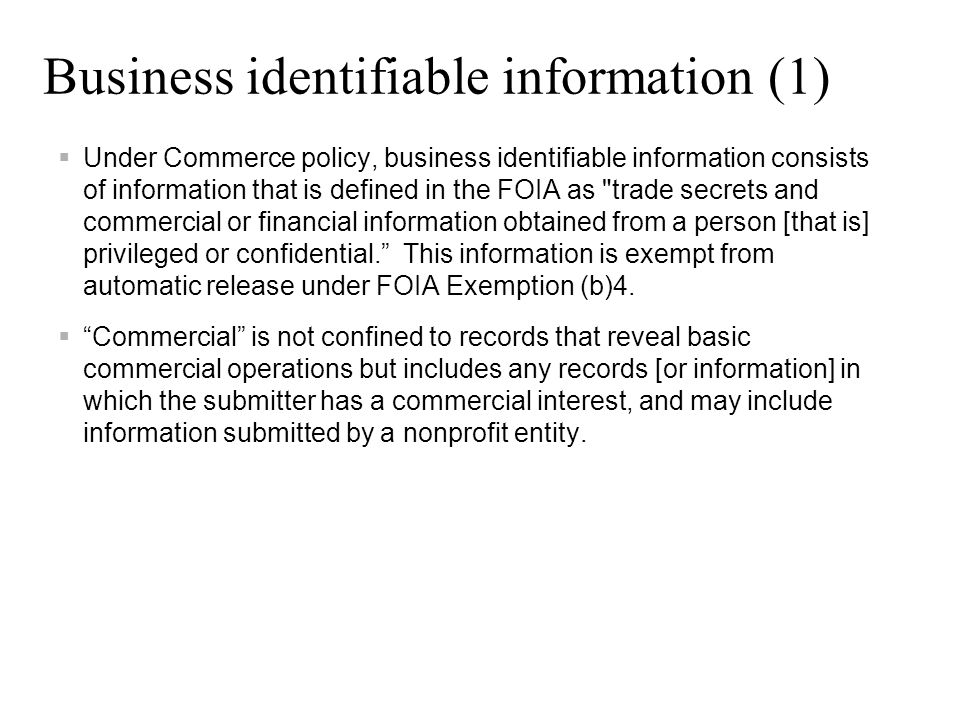 Business identifiable information (1)