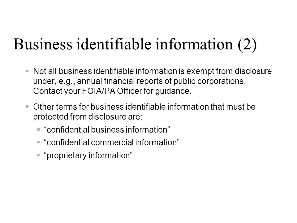 Business identifiable information (2)