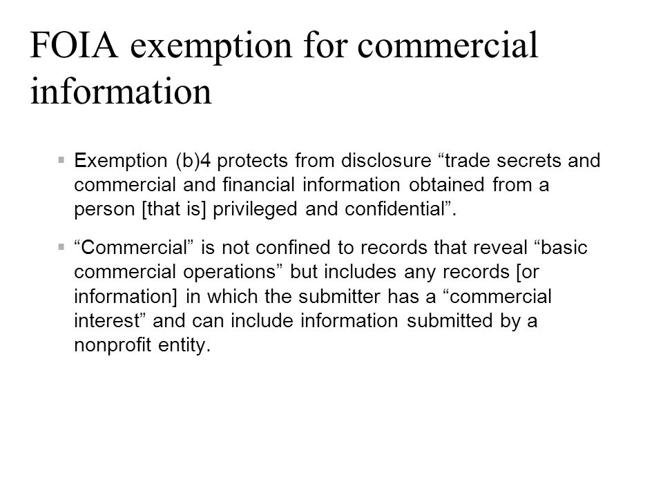 FOIA exemption for commercial information