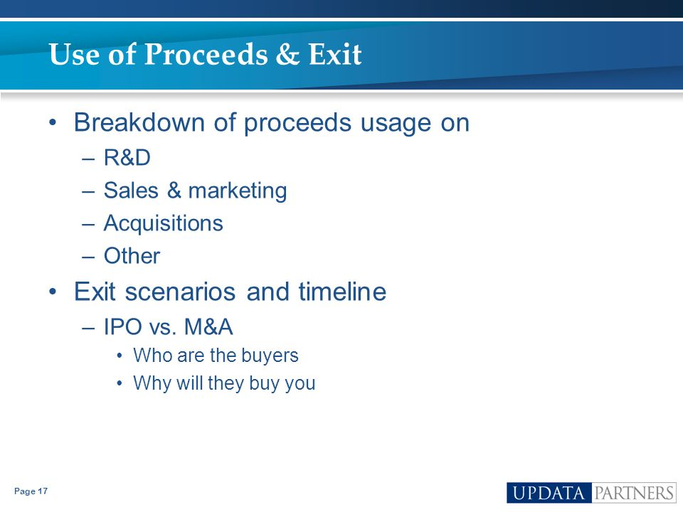 Use of Proceeds & Exit Breakdown of proceeds usage on