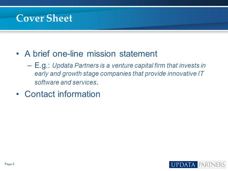 Cover Sheet A brief one-line mission statement