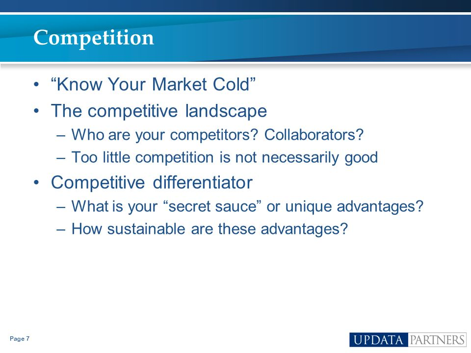 Competition Know Your Market Cold The competitive landscape