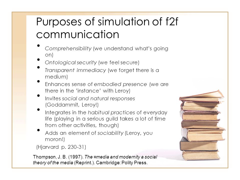Purposes of simulation of f2f communication