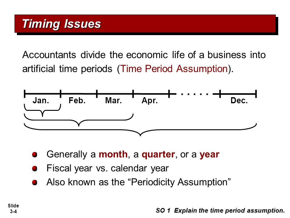Timing Issues Accountants divide the economic life of a business into artificial time periods (Time Period Assumption).