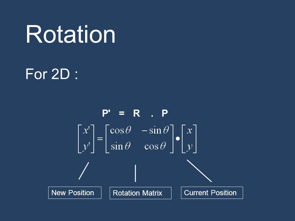 Rotation For 2D : P = R . P New Position Rotation Matrix