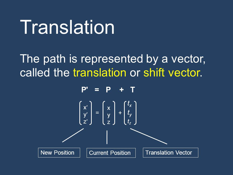 Translation The path is represented by a vector, called the translation or shift vector. P = P + T.