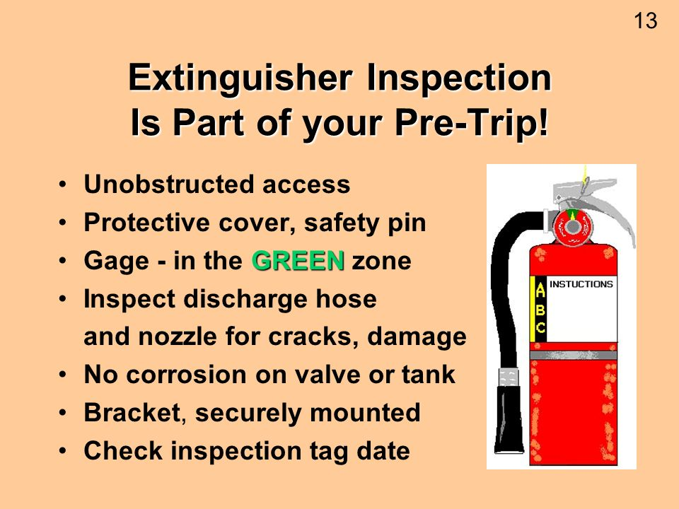 Extinguisher Inspection Is Part of your Pre-Trip!