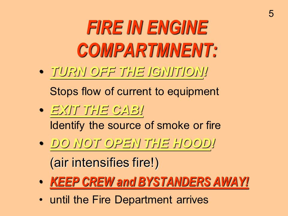 FIRE IN ENGINE COMPARTMNENT: