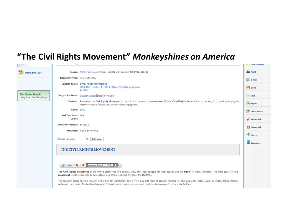 The Civil Rights Movement Monkeyshines on America