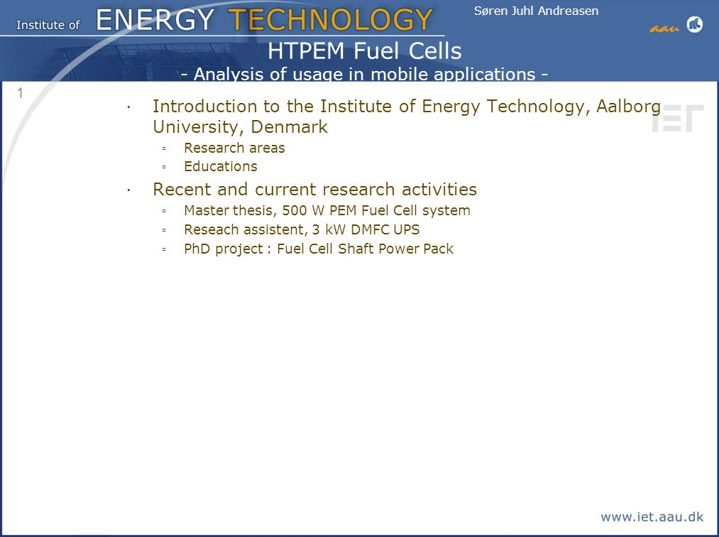 HTPEM Fuel Cells - Analysis of usage in mobile applications - - ppt