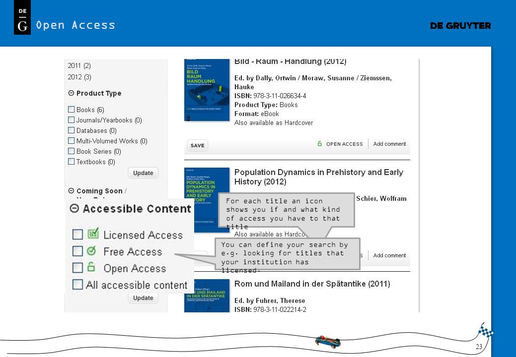 Open Access For each title an icon shows you if and what kind of access you have to that title.