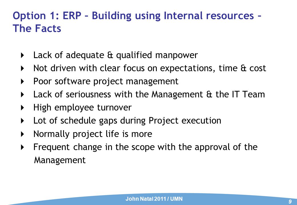 Option 2: Building ERP using External Resources