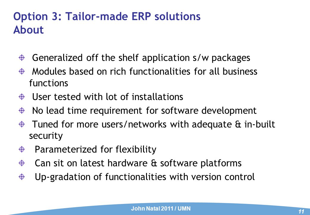 Tailor-made ERP solutions