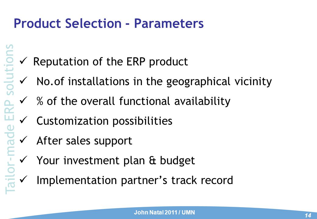 ERP Product selection Criteria