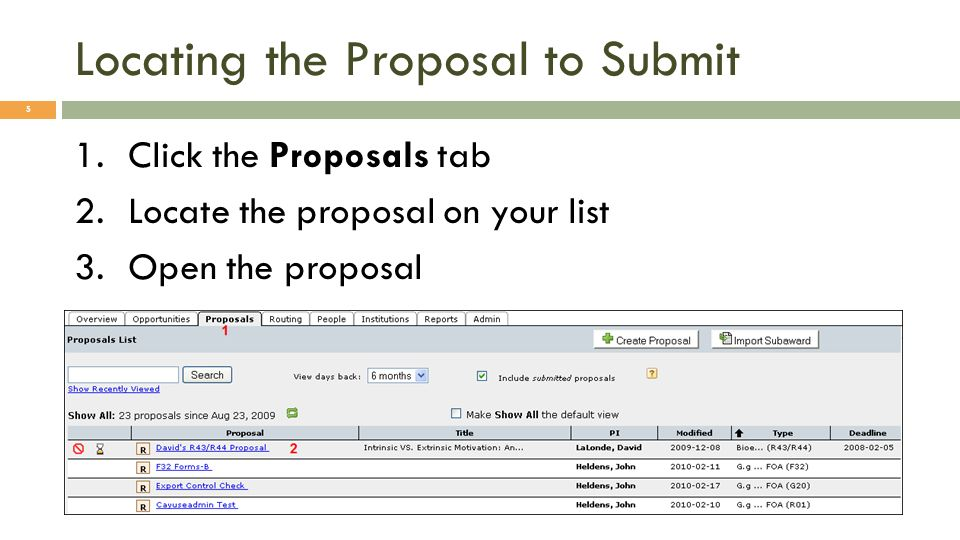 Locating the Proposal to Submit