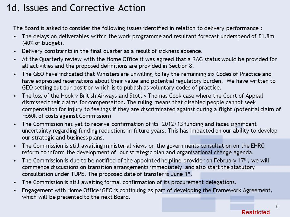 1d. Issues and Corrective Action